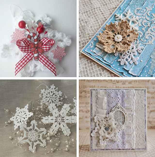 новогодний подарок с вязанными снежинками