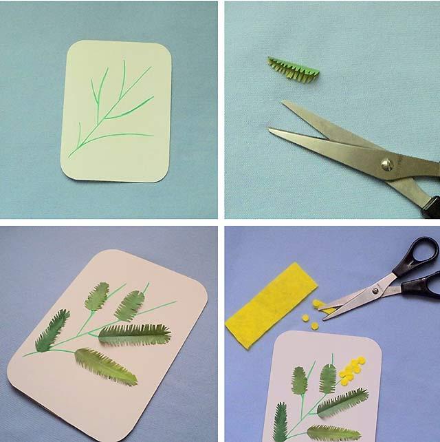 как сделать открытку с мимозой
