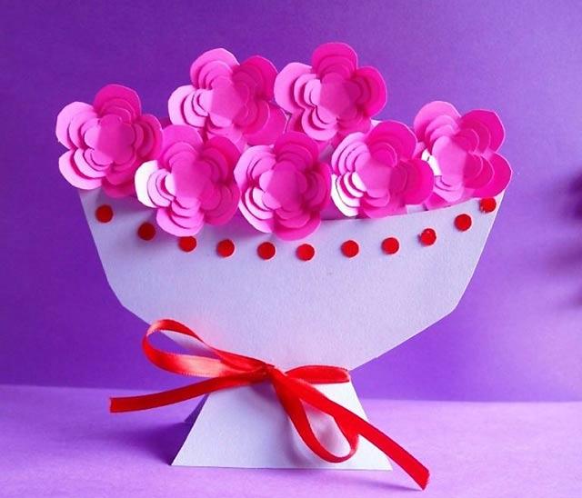 поделка - ваза с цветами
