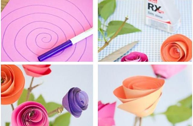 простые цветы из бумаги