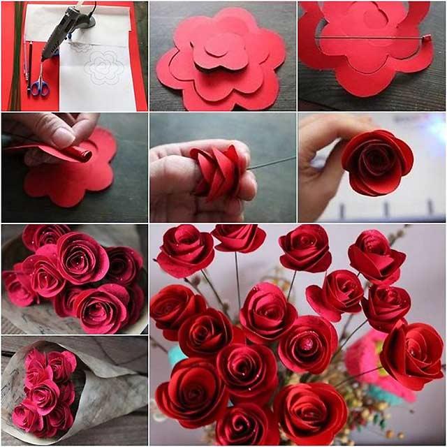 простые розы из бумаги