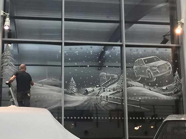 рисунок художника на стекле