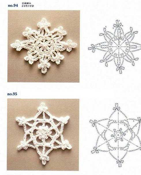 схема вязания красивой снежинки