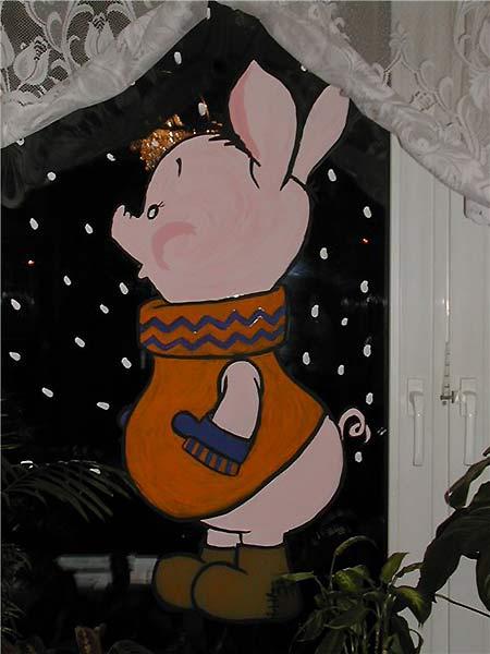 свинья на окне