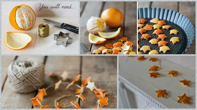 гирлянда из корок апельсиновых