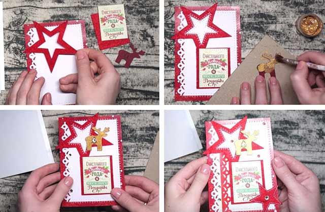 новогодняя открытка пошагово