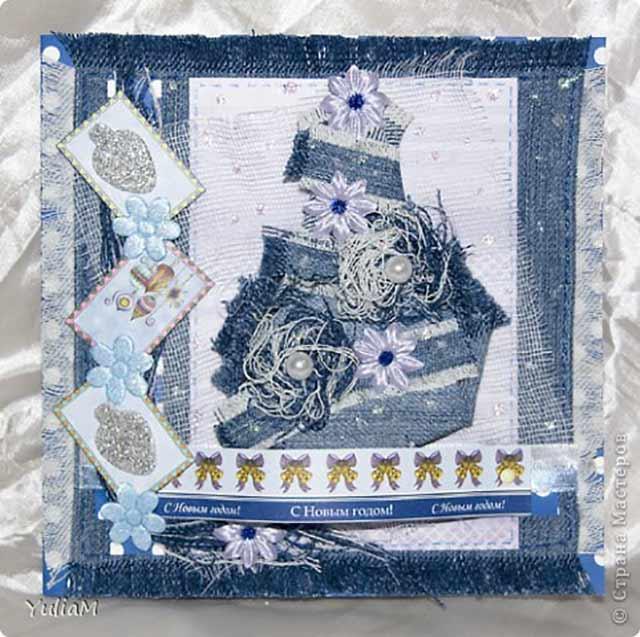 открытка из лоскутков ткани