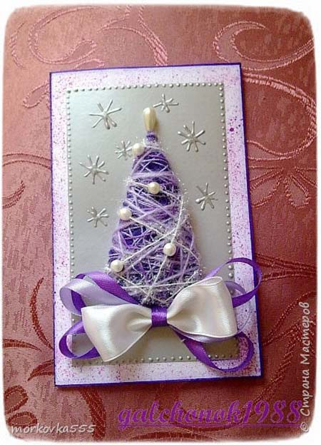 новогодняя открытка с бисером