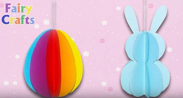яйцо и заяц на пасху из бумаги