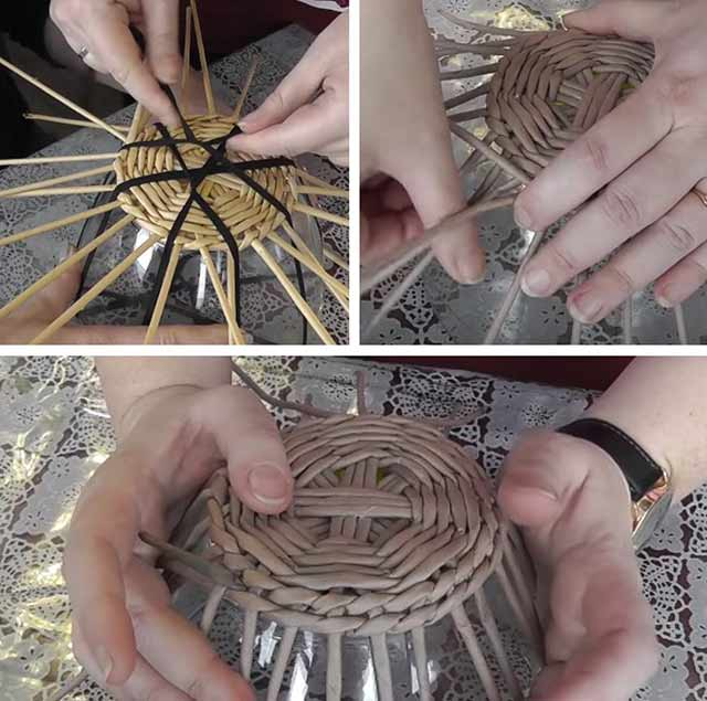дно корзинки плетение