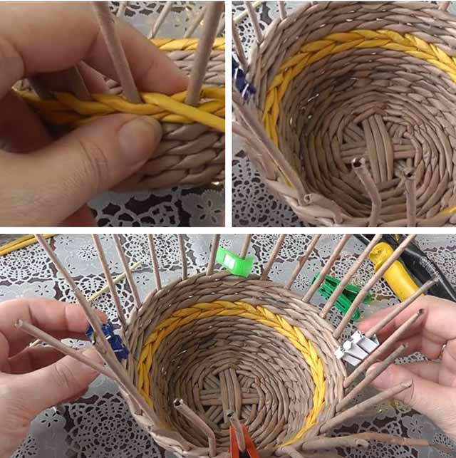процесс плетения корзинки
