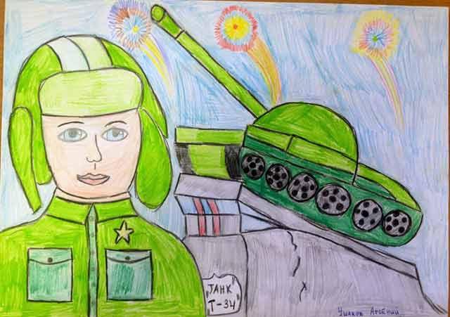 рисунок на 23 февраля танкист