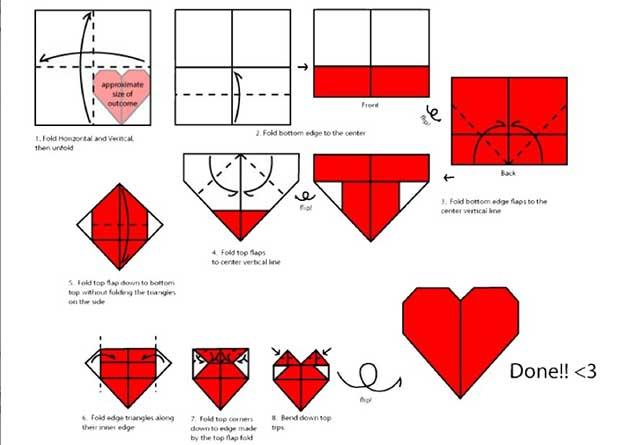 схема складывания бумажных сердечек