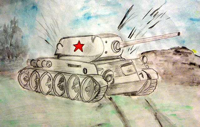 танк нарисованный карандашами