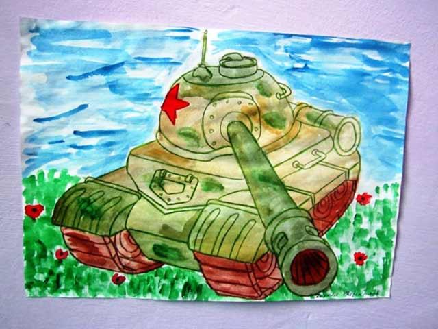танк, нарисованный акварельными красками