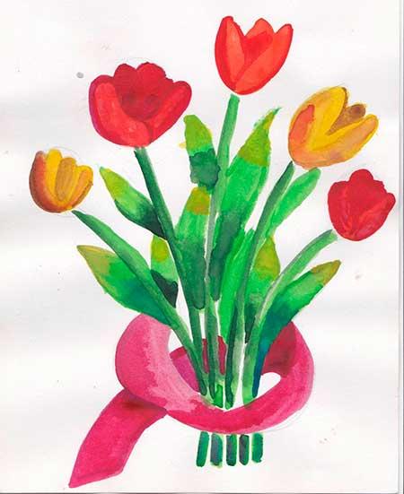 рисунок букета цветов красками