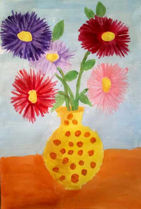букет цветов красками рисунок
