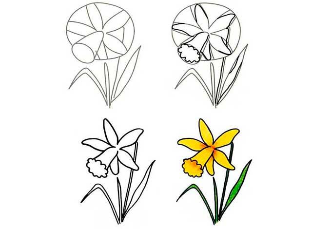 рисуем цветок пошагово