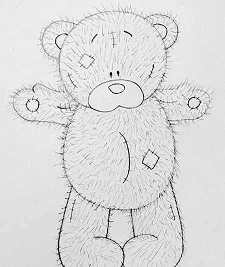 нарисованный медвежонок