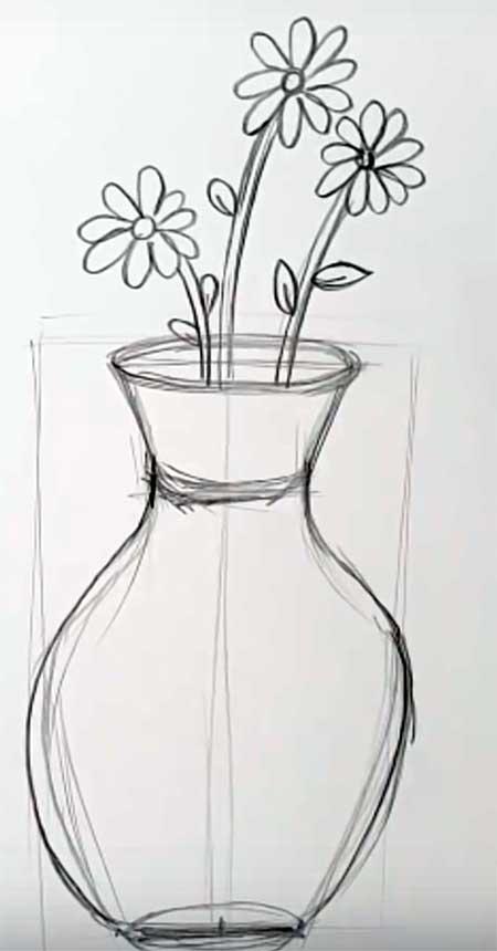 рисуем вазу карандашом