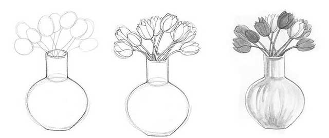 рисунок вазы с цветами