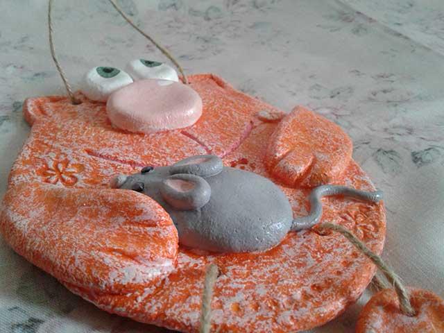 мышка и кот поделка из соленого теста