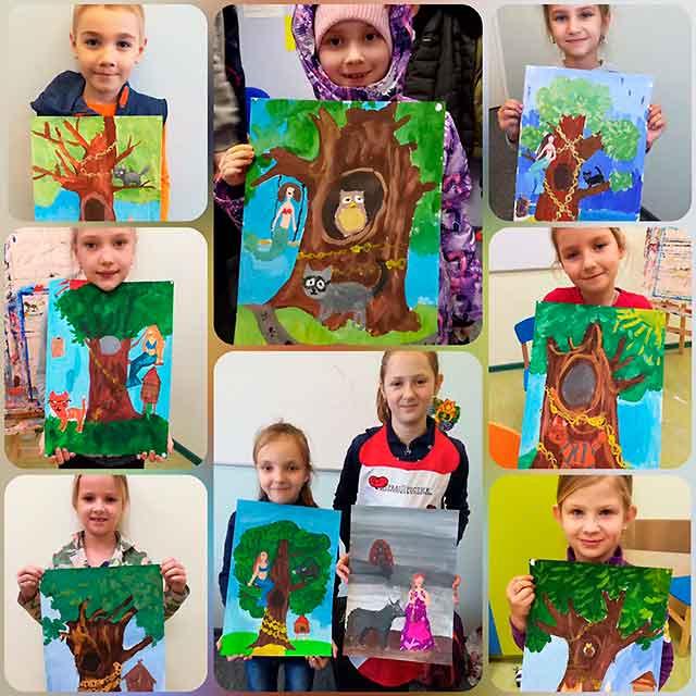 красочные рисунки детей у лукоморья дуб зеленый