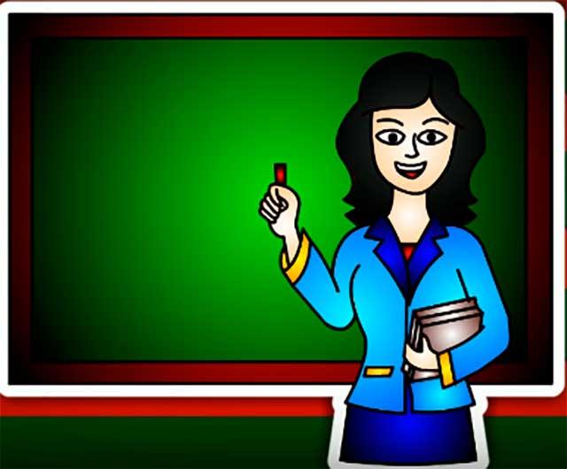 цветной рисунок учительницы