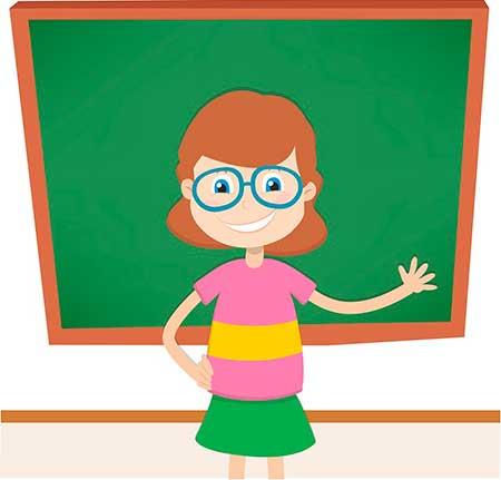 учитель у доски рисунок