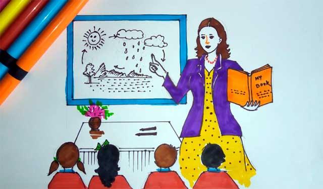 рисунок учительницы и детей