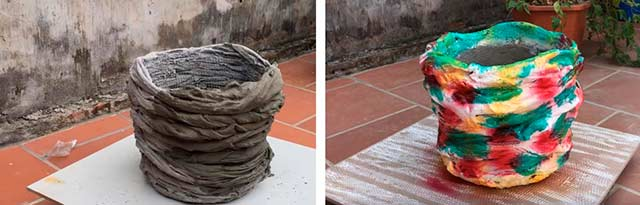 кашпо из ткани