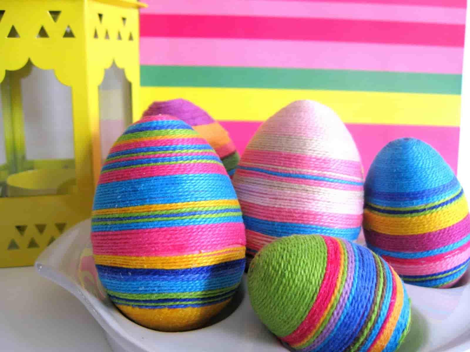 яйца украшенные нитками