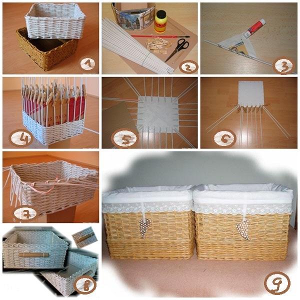 процесс изготовления корзины из бумаги