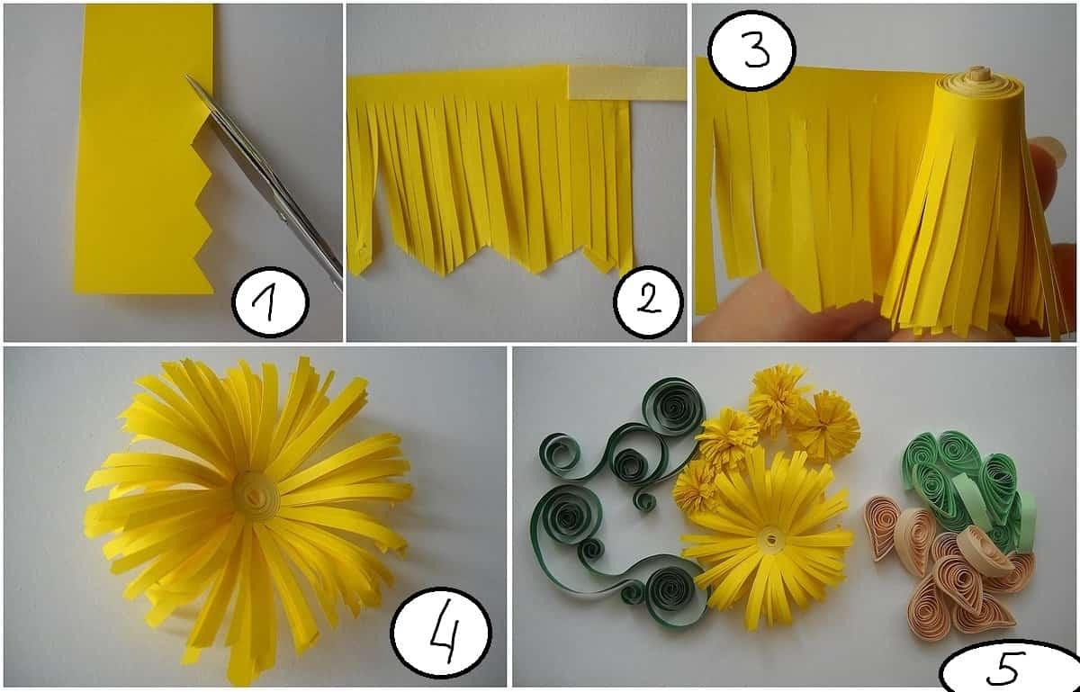 желтый бумажный цветок