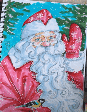 Дед мороз маркерами