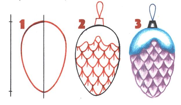 этапы рисования шишки