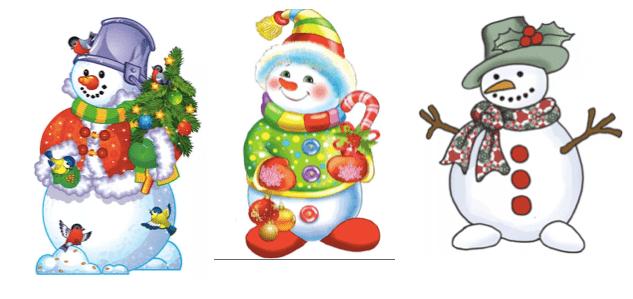 три цветных снеговика