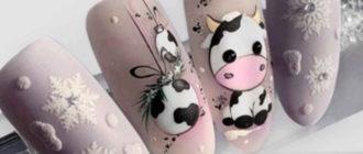маникюр с коровками