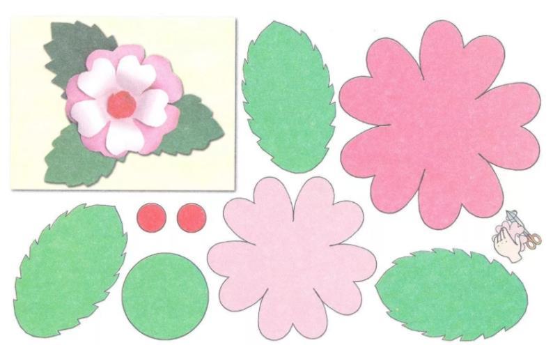 шаблон с розовым цветком
