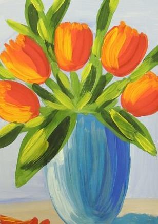 тюльпаны гуашью
