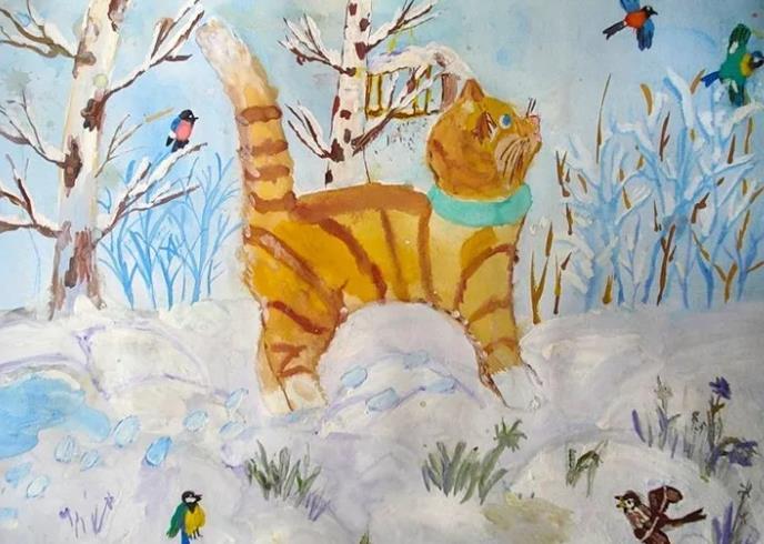 детский рисунок кота