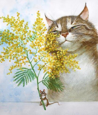 кошка с мимозами