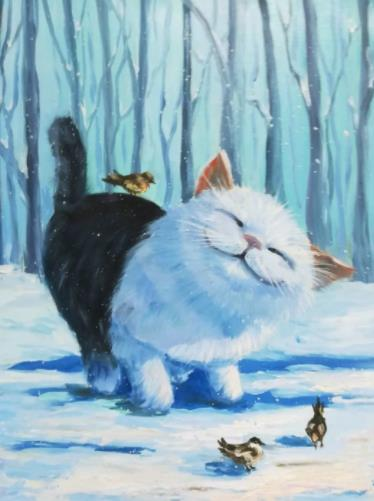 котенок с птицами