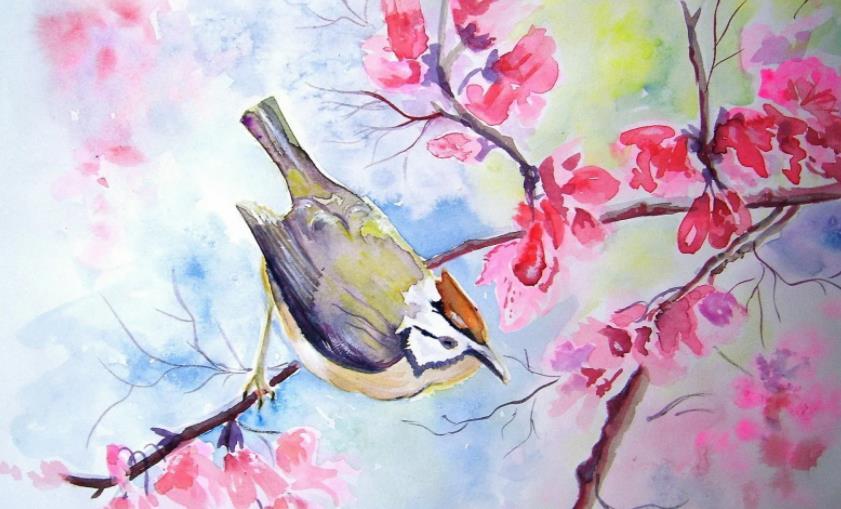 птица в цветах