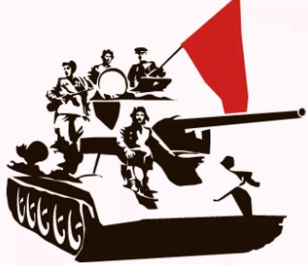 танк и красный флаг