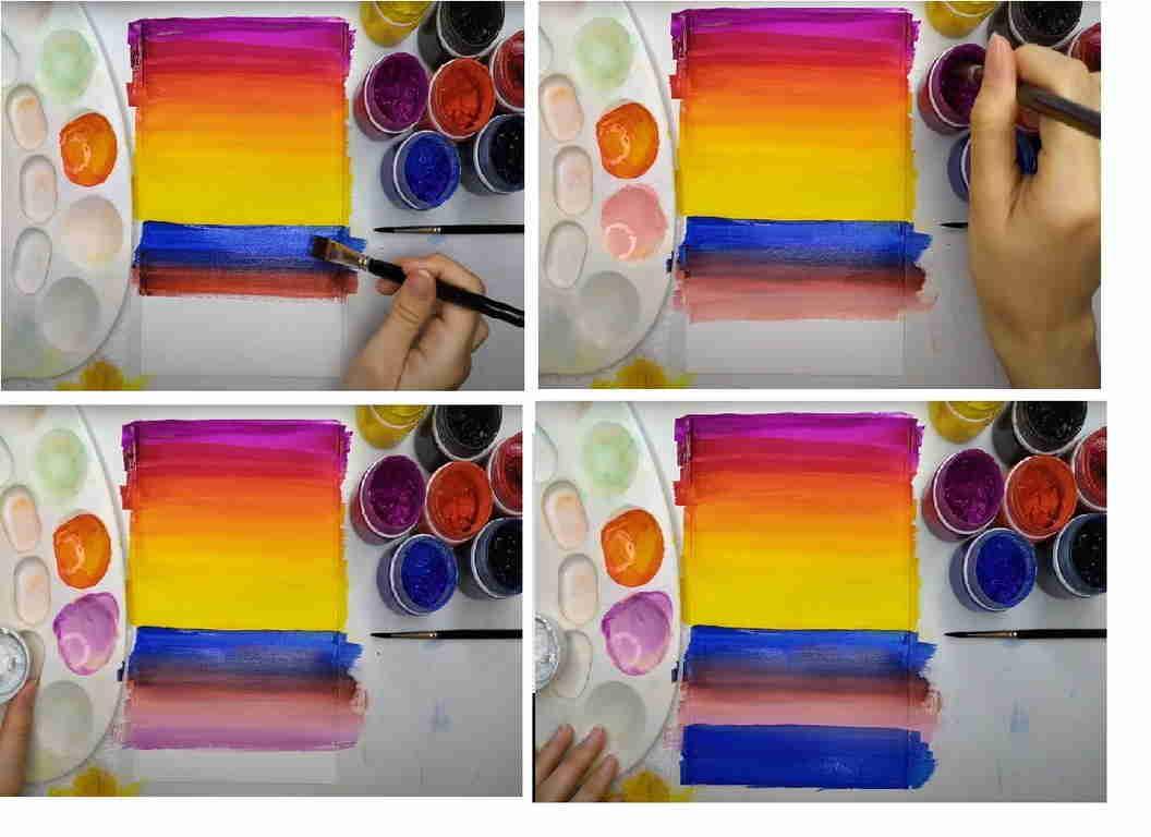 море на закате красками