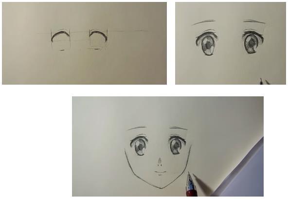 отмечаем очи простым карандашом