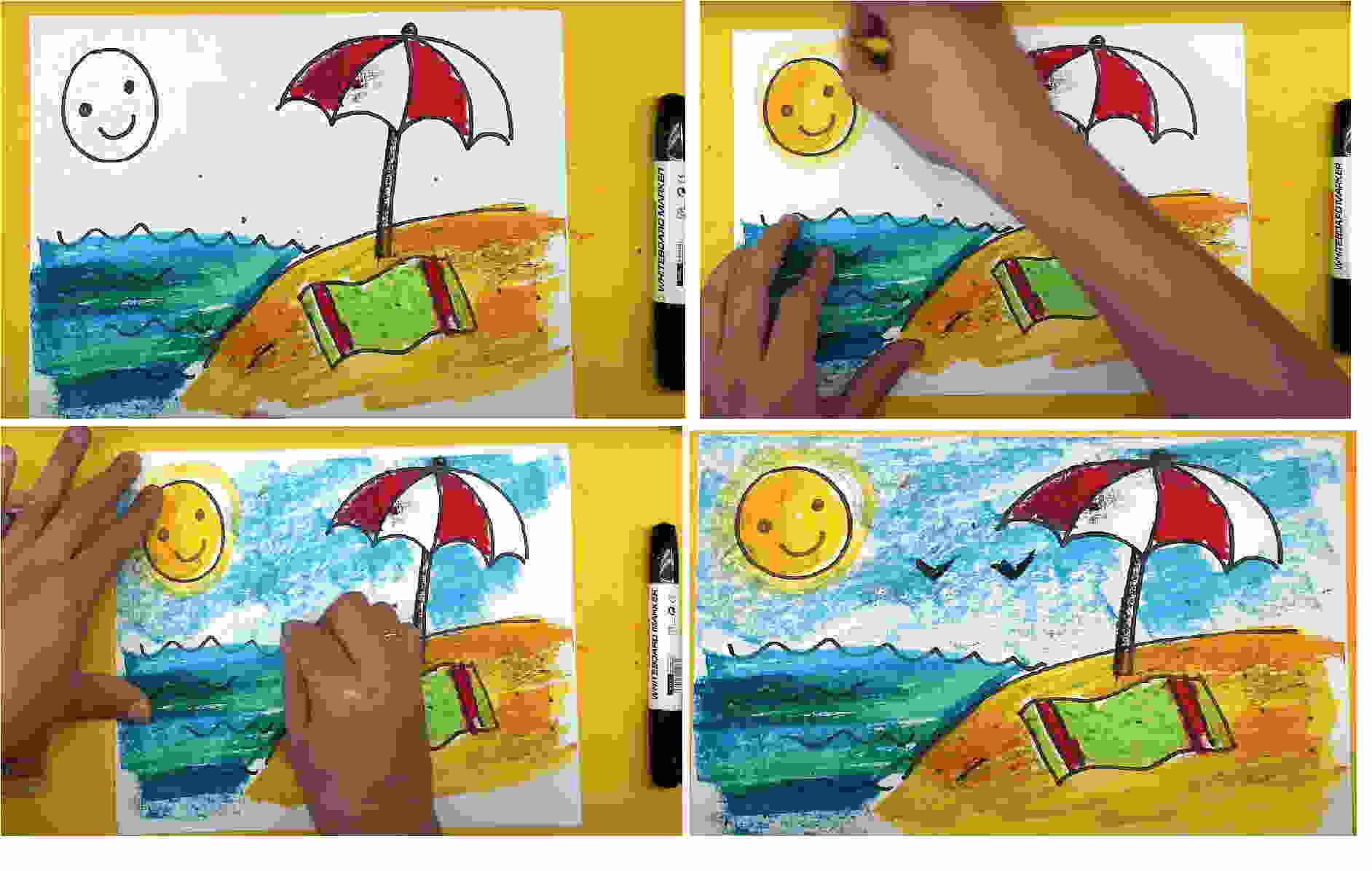Пляж восковыми карандашами
