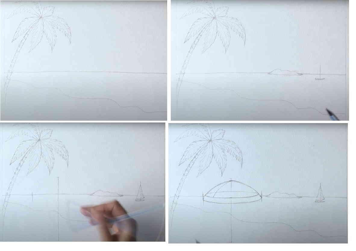 зонт и кокос простым карандашом