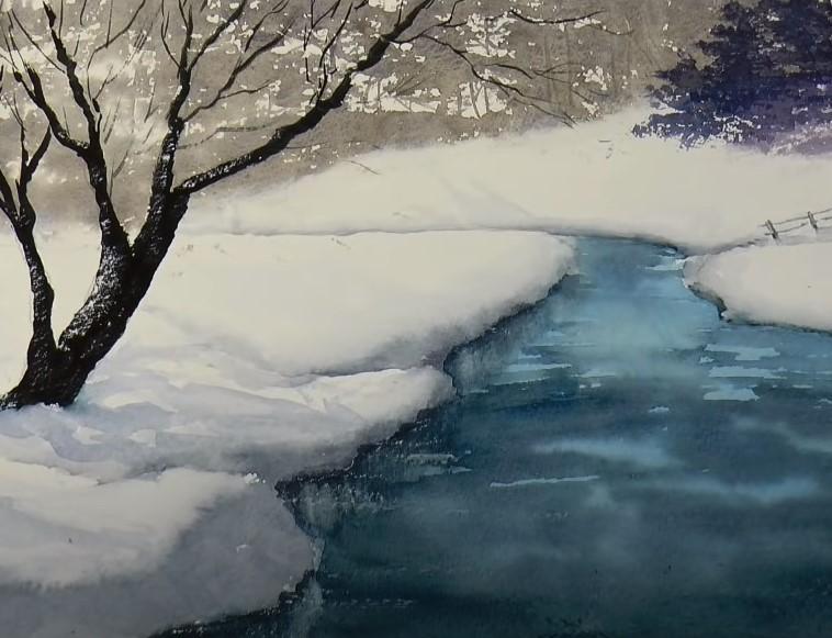 зимняя река акварелью
